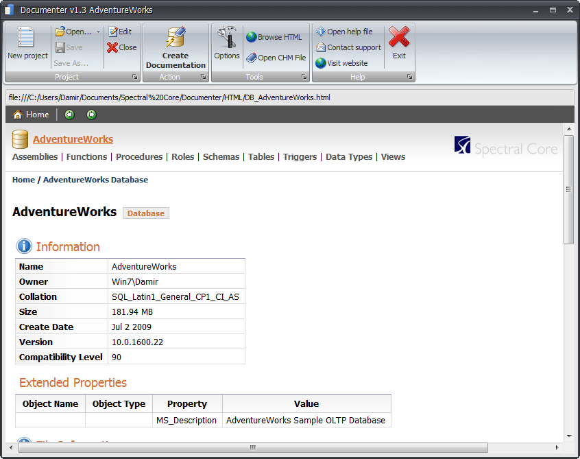 All database objects are easily accessible. Related objects are always shown as links for easy access.
