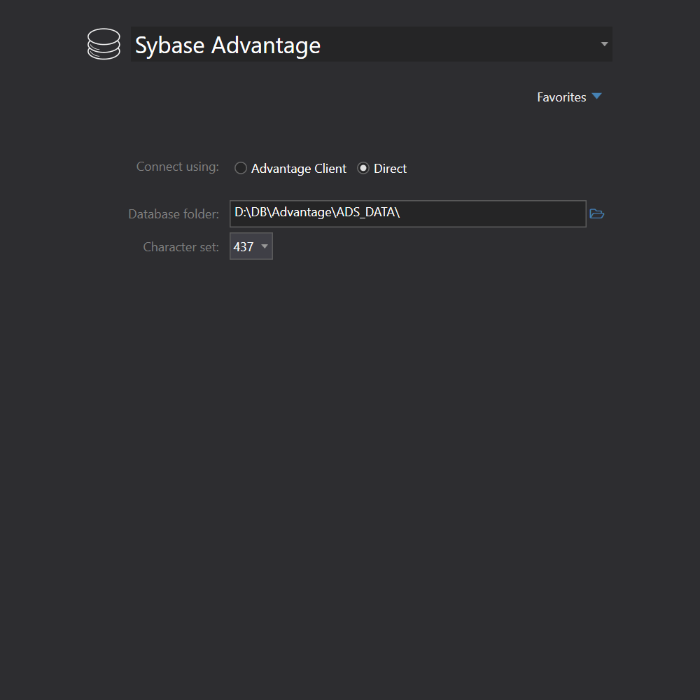 Sybase Advantage connection