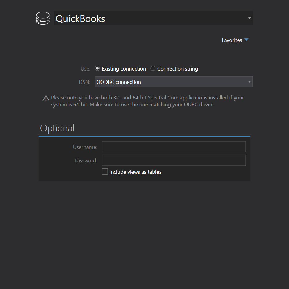 QuickBooks connection
