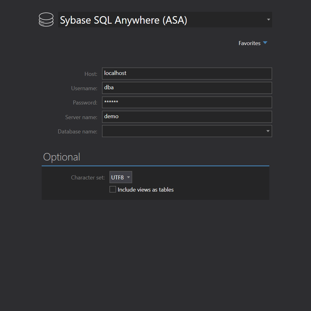 Sybase SQL Anywhere connessione