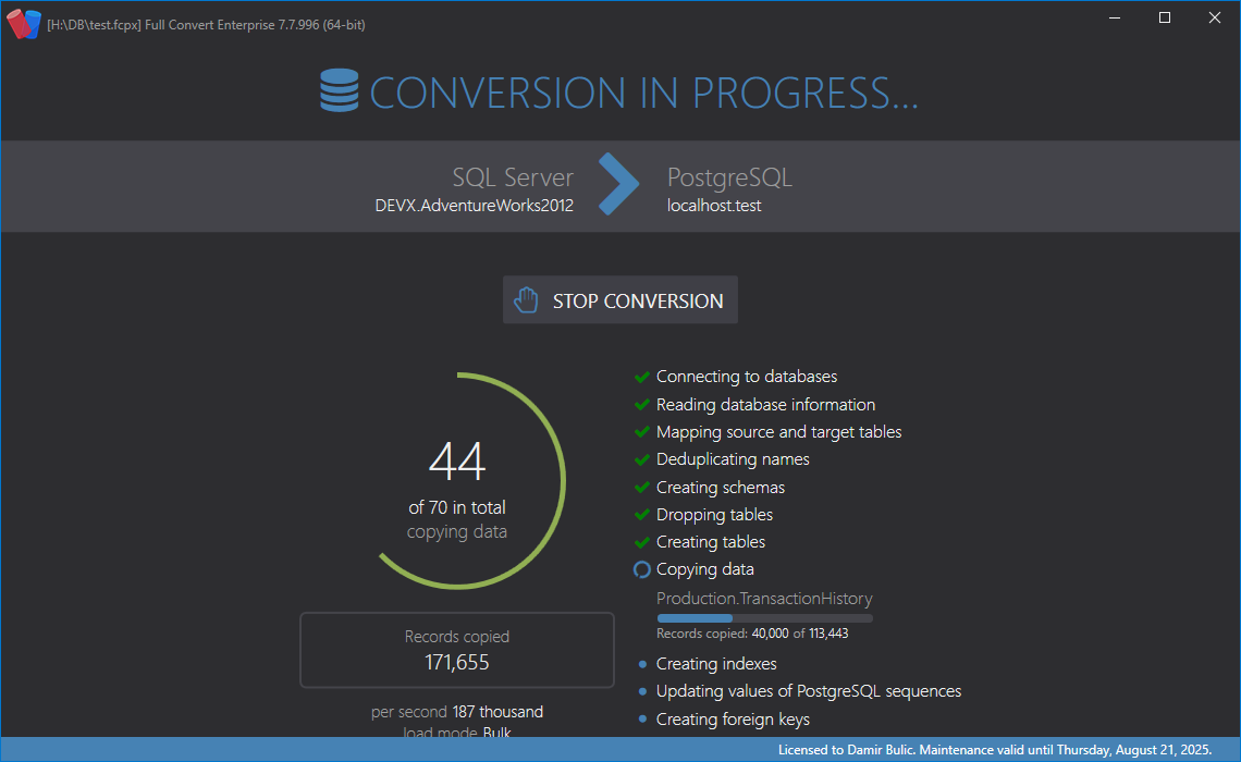 Conversion progress screen