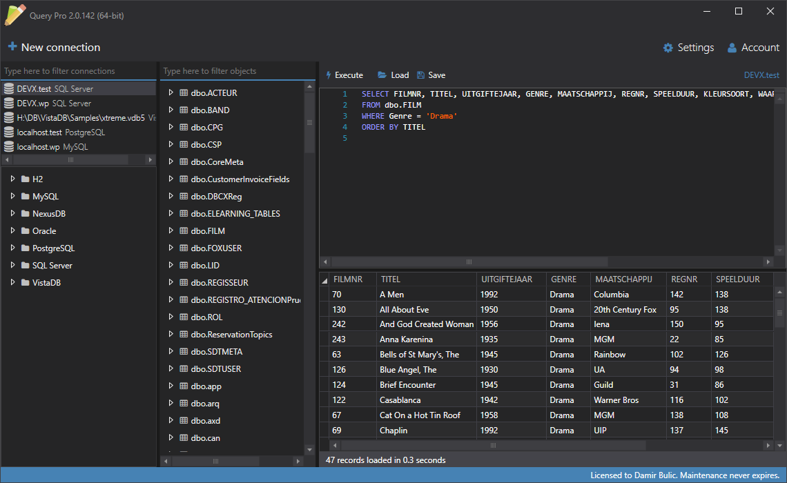 Query Pro Multi-database SQL Query Tool | Spectral Core